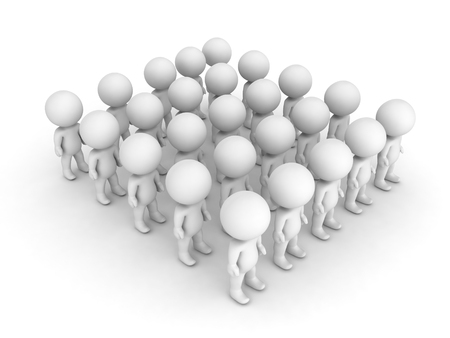 3D illustration of a group characters standing aligned. Isolated on white.