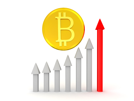 3D illustration depicting the rise of bitcoin. Isolated on white. Stock Illustration - 91528042
