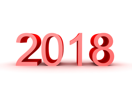3D illustration of the number 2018. Isolated on white.