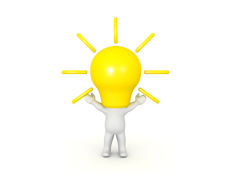 3D Character with a bright light bulb for head. The bulb is emitting light and the the characters arms are raised.  Stock Photo