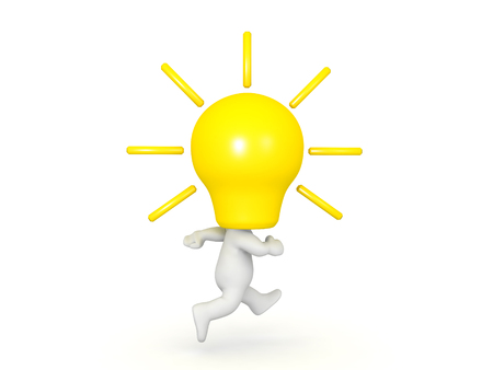 3D Character with a yellow lightbulb for head running. Image symbolizing having an ideea and running with it.