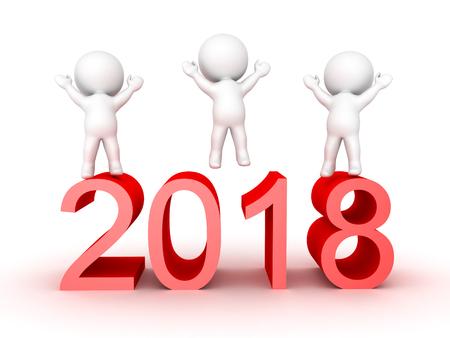 2018年の新年を祝う3Dキャラクター。白で隔離された