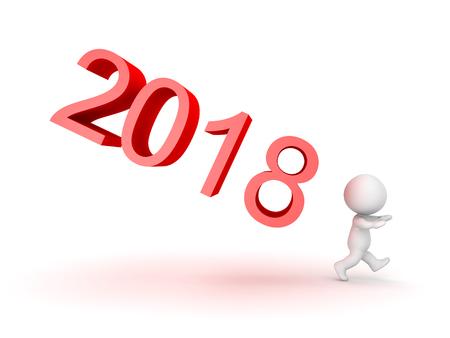 2018年の新年を恐れる3Dキャラクター。白で隔離された