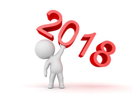 3 D 文字数 2018 を持ち上げます。2018 年に画像のものの中に生命の象徴を担当。 写真素材