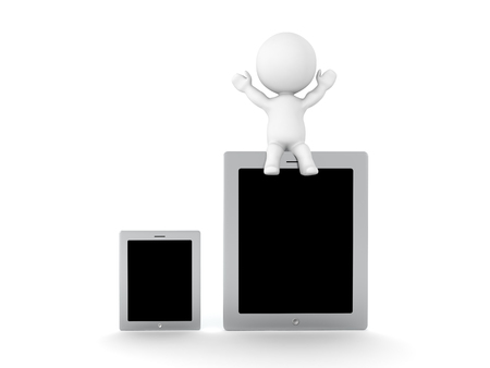 3D Character sitting on top of large tablet device next to a small one. Isolated on white.  Banco de Imagens