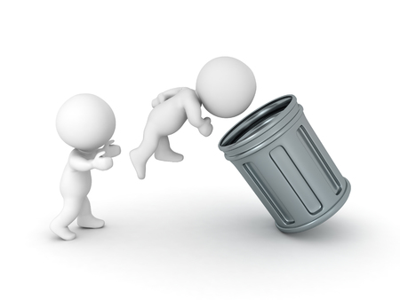 3D Character being thrown in a retro garbage can. Isolated on white.