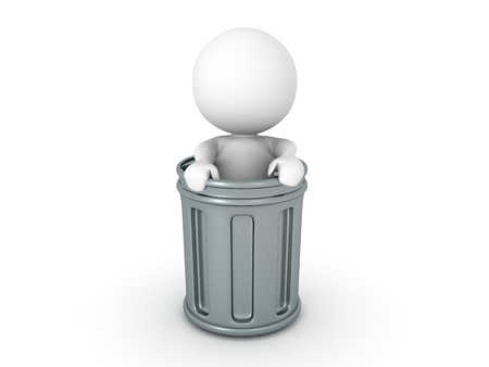 3D Character standing inside of a metallic trash can. Isolated on white.