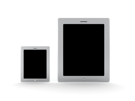3D illustration of different sized tablet smartphone devices. Isolated on white.  Banco de Imagens