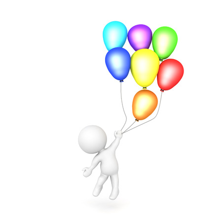 3D Character flying away holding many balloons. Isolated on white.  Stock Photo