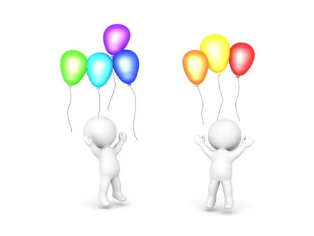 Two 3D Characters celebrating with balloons. Isolated on white.  Stock Photo