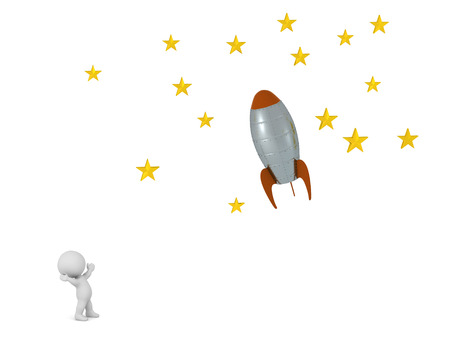 A small 3D character looking up at rocket flying toward stars. Isolated on white background. Imagens