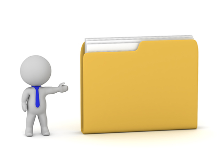 A 3D character showing a large yellow file folder. Isolated on white background. Imagens