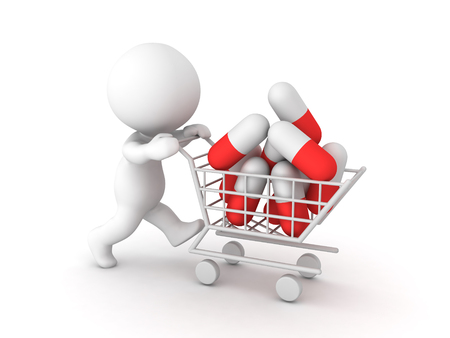 Charakter 3D, der Warenkorb mit vielen roten weißen Kapseln drückt. Isoliert auf weiss Standard-Bild - 97222512
