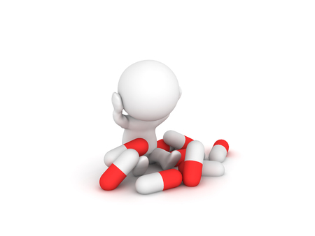Stressed 3D Character with many capsule pills around him. Isolated on white.