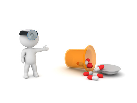 3D doctor showing spilled pharmacy capsule bottle. Isolated on white.