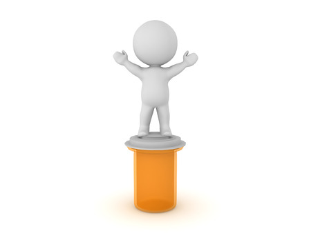 3D Character standing on top of pill capsule container. Isolated on white.  Stock Photo