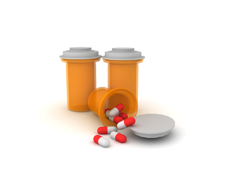 3D big orange pharmaceutical pill bottles. Isolated on white.