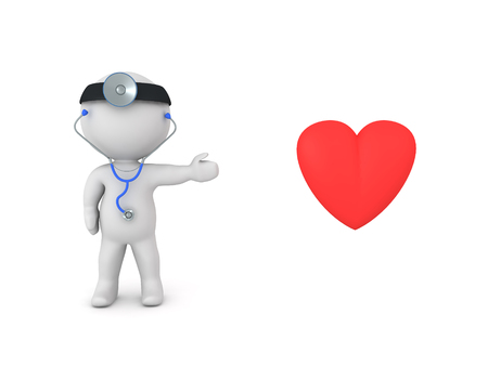 3D Doctor showing big red heart. Isolated on white.
