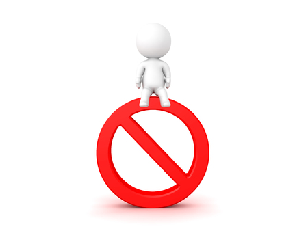 3D Character sitting on top of forbidden sign. Isolated on white.