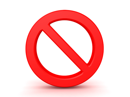 3D illustration of forbidden sign. Isolated on white.  Stock Photo