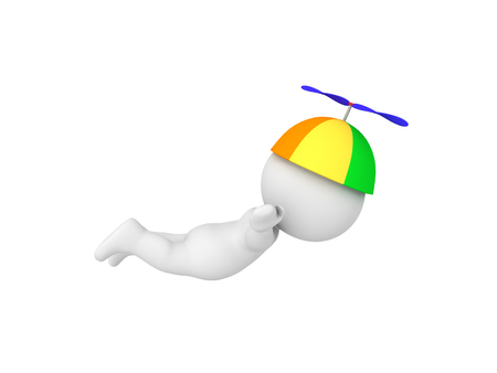 3D Character wearing propeller hat and flying. Isolated on white.