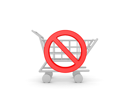 3D Red no symbol across a shopping cart. Image conveying anti consumerism.