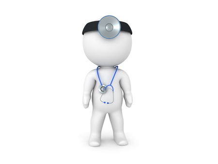 3D Doctor with stethoscope around his neck. Isolated on white.