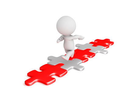 3D Character running down red and white puzzle piece pathway. Isolated on white. Stock Photo
