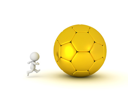 3D Character running after giant golden soccer football. Isolated on white. Stock Photo