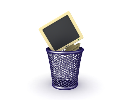 3D illustration of old monitor thrown in the garbage. Isolated on white. 스톡 콘텐츠