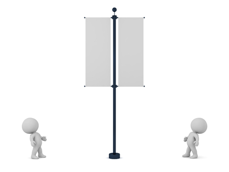 Two small 3D characters looking up at a flag pole with two banners. Isolated on white background.