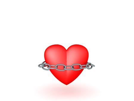 3D illustration of a heart with a chain around it. Isolated on white.