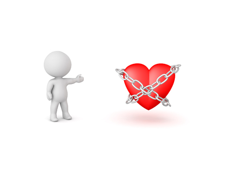 3D Character showing chained up heart. Isolated on white.  Banco de Imagens