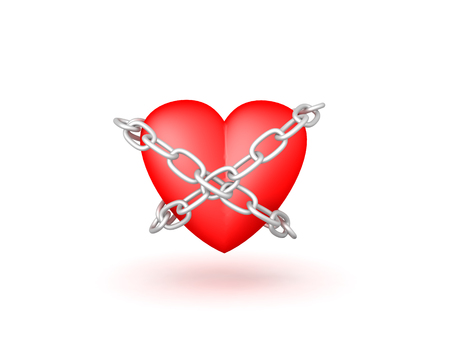 3D illustration of a chained up heart. Isolated on white.
