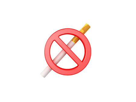 3D illustration of no smoking sign. Isolated on white.  Stock Photo