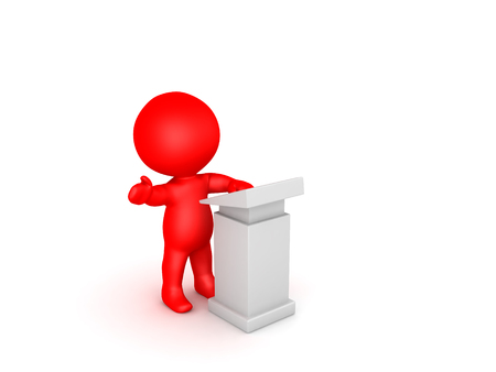 3D Red Character speaking on a lectern. Image relates to oratory.