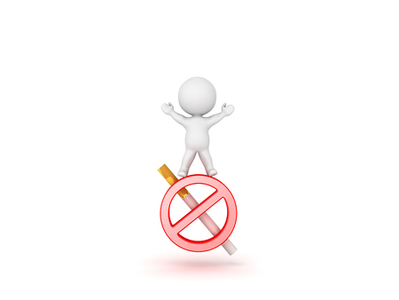 3D Character standing on top of no smoking symbol. Isolated on white.  Stock Photo