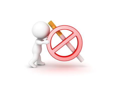 3D Character pushing no smoking symbol. Isolated on white.  Stock Photo
