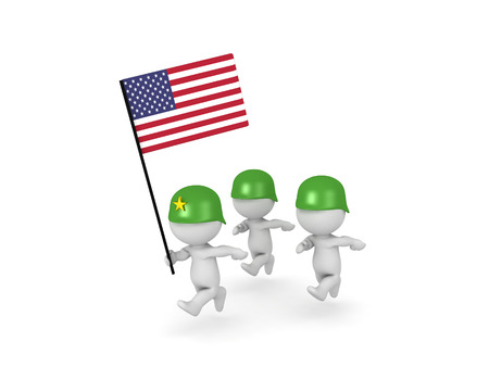 3D illustration of army officer leading American soldiers. Isolated on white.  Stock Photo
