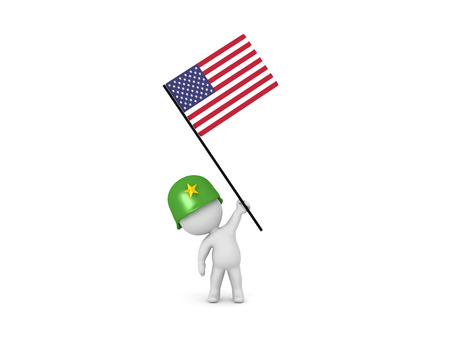 3D illustration of soldier holding the American Flag. Isolated on white.  Stock Photo