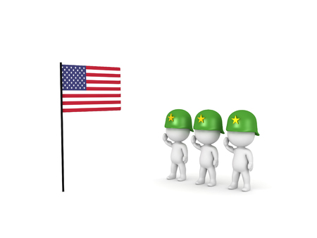 3D illustration of army soldiers saluting the American Flag. Isolated on white.
