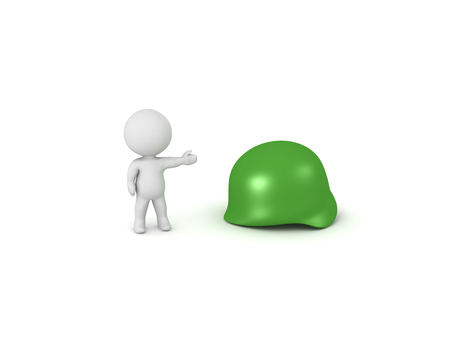 3D Character showing green army helmet. Isolated on white.