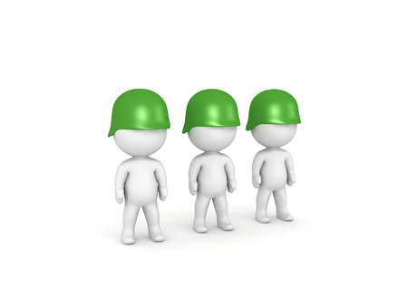 Three 3D Soldiers wearing green army helmets. Isolated on white.