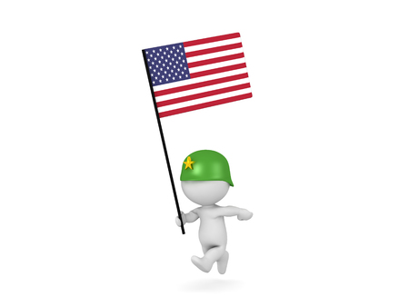 3D illustration of soldier running and holding the American Flag. Isolated on white.  Stock Photo