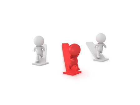 3D illustration of red character out running other ones. Isolated on white.