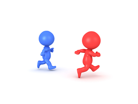 3D illustration of red character running faster than blue one. Overtaking the competition concept.