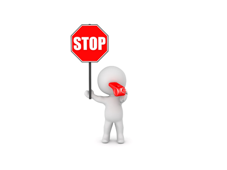 3D Character holding stop sign and blowing whistle. Isolated on white.