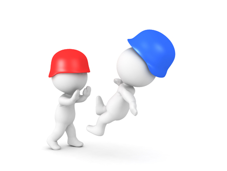3D illustration of a red soldier pushing a blue soldier. Isolated on white.  Stock Photo
