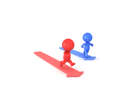 3D illustration of red and blue characters running on arrows. The red one is a on a longer arrow and is overtaking the blue character.