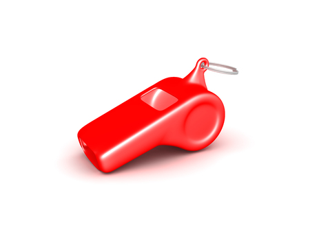 3D illustration of a red whistle place on the floor. Isolated on white.  版權商用圖片